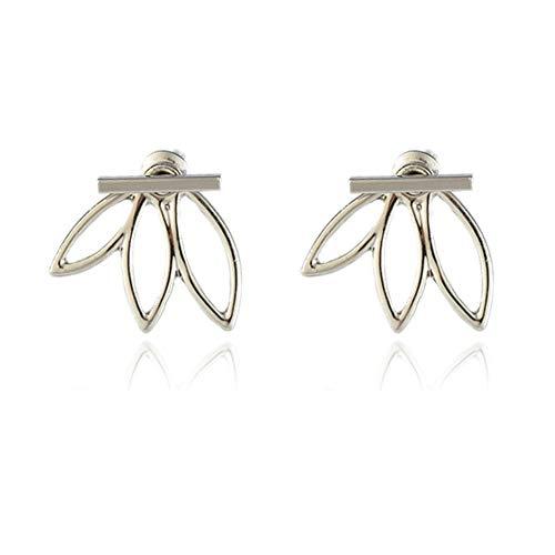 Alivier Pendientes de Flor de Loto de Plata Pendientes Ligeros para el oído Pendientes de botón Chaquetas Elegante Moda