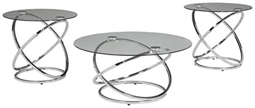 Signature Design by Ashley - Madanere Contemporary 3-Piece Table Set - Includes Cocktail Table & Two End Tables, Chrome Finish