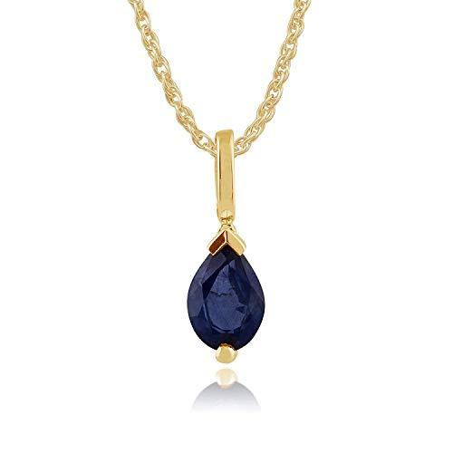 Gemondo Sapphire Necklace, 9ct Yellow Gold 0.85ct Pear Light Blue Kanchanaburi Sapphire Pendant on 45cm Chain