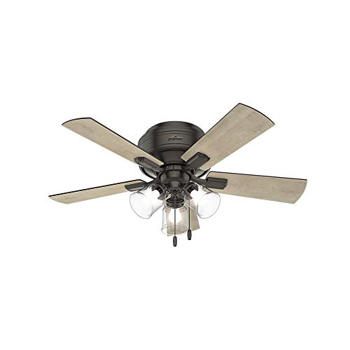 Hunter Crestfield Indoor Low Profile Ceiling Fan with LED Light and Pull Chain Control, 42', Noble Bronze