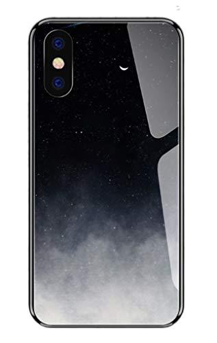Svnaokr Compatible con iPhone funda de vidrio, diseño de cielo estrellado, silicona, protección completa de cuerpo entero, resistente a los golpes (noche, para iPhone 7/8Plus)