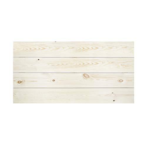 Decowood - Cabecero para Cama Dormitorio, Lamas Horizontales Corte Recto, Madera de Pino Flandes Natural - 160 x 80 cm