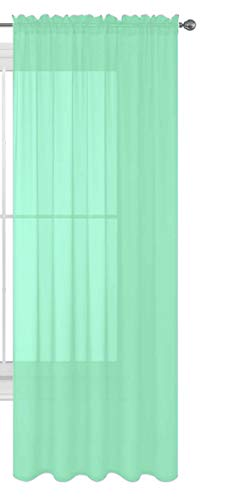 """Luxury Discounts 1 PC Solid Rod Pocket Sheer Window Curtain Treatment Drape Voile Panel in Variety of Colors (54"""" X 63"""", Mint)"""