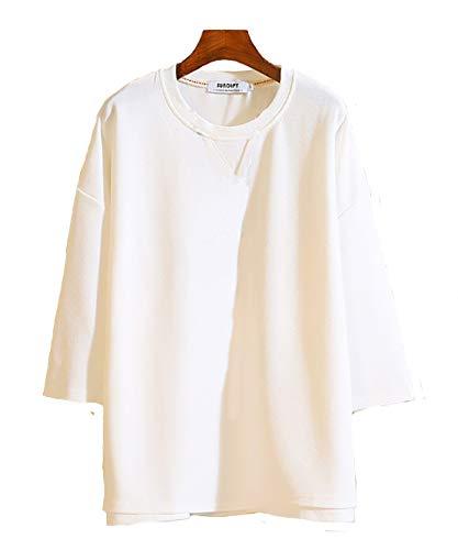 [ Make 2 Be ] ゆるふわ ワイド ビックシルエット ドロップショルダー Tシャツ メンズ 7分袖 夏 MF91 (12.White_L)