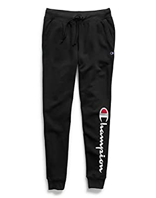 Champion Women's Powerblend Jogger, Black Graphic, X Large