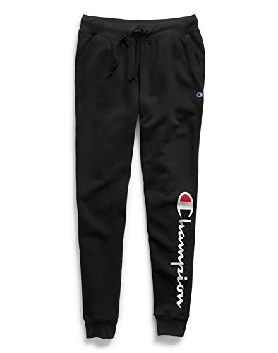 Champion Women's Powerblend Joggers, Script Logo, Black-Y07459, Medium