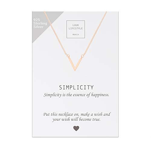LUUK LIFESTYLE Diverse zilveren ketting 925 met Simplicity wenskaart, geluksbrenger, vriendschapsketting, geschenk, damesjuwelen, zilver, goud, rozengoud