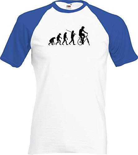 Shirtinstyle Raglan Chemise Evolution BMX Freestyle Astuce Vélo Jump Différentes Couleurs, S-XXL - Blanc-Royal, XL