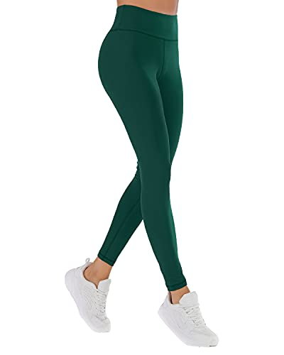 NORMOV High Waisted Butter Soft Leggings for Women Elastic Comfortable Casual Yoga Pants (Dark Green, Small)