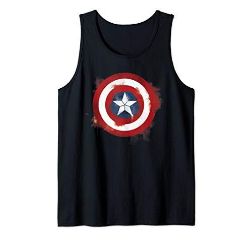 Marvel Avengers Endgame Spray Paint Captain America Logo Tank Top