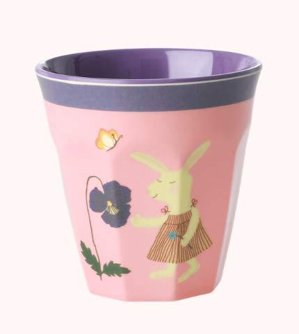 Rice Kindergeschirr aus Melamin, Muster Bunny pink, Verschiedene Artikel (Teller tief/Becher) Artikelvariante Becher klein