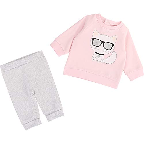 Ensemble sweat pantalon KARL LAGERFELD KIDS BEBE COUCHE GRIS ROSE 18MOIS