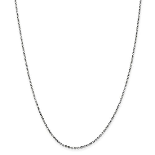 Oro bianco 14K WG 1.65mm Solid D/C cable Chain