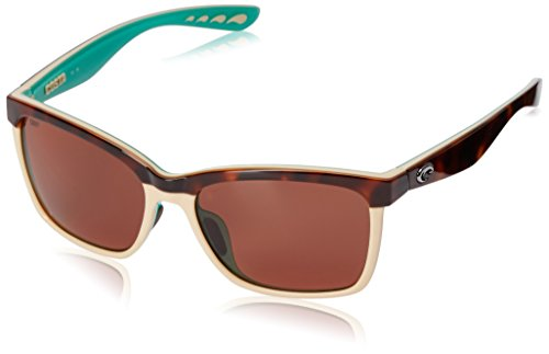 Costa del Mar Women's Anaa ANA 105 OCP Polarized Cateye Sunglasses, Retro Tort/Cream/Mint, 55.4 mm