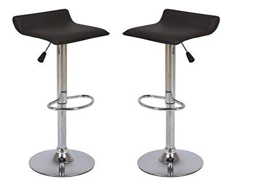 Vogue Furniture Direct Direct Adjustable Height Swivel Barstools With Footrest (Set of 2), Black