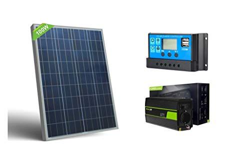 Kit Fotovoltaico DOROFRED 100W 12V, 1KW Giornaliero, Pannello 100W, Inverter Professionale 500W, Con Regolatore Di Carica 10A. Pannello Fotovoltaico, Off Grid, Camper, Baita, Casa, Energia Solare