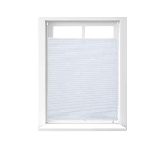 Relaxdays Store vénitien sans perçage volet fenêtre blanc laisse passer la lumière, 90 x 130 cm, blanc