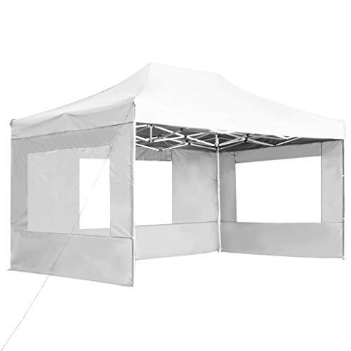 Tidyard Carpa de jardín,Carpa Plegable Profesional de Aluminio Blanca 4,5x3 m