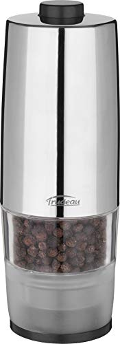 Trudeau One-Hand Battery Operated Pepper Mill, Stainless Steel Finish