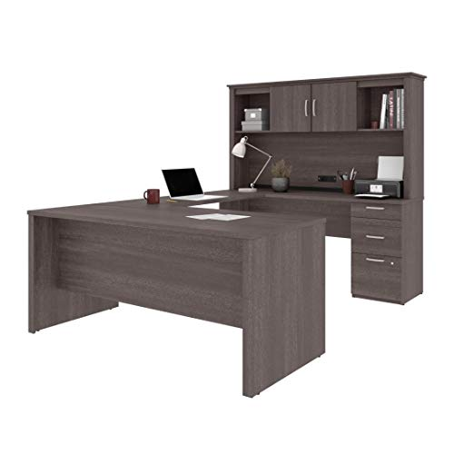 Bestar, Universel Collection, Modern U or L-Shaped Executive Office Desk with Hutch