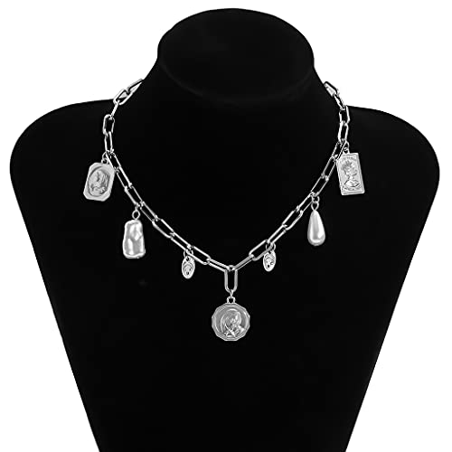 MIKUAU collarCollar con Colgante múltiple Vintage, Perlas de imitación grabadas, Collar con Borla, joyería para Mujer, Venta al por Mayor