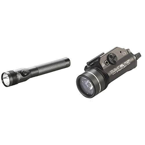 Streamlight 75458 Stinger DS LED High Lumen Rechargeable Flashlight & 69260 TLR-1 HL 1000-Lumen Tactical Weapon Mount Light With Rail Locating Keys & Lithium Batteries, Black – Box Packaged