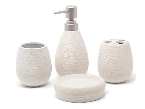 Jabonera baño más dispensador de jabón, vaso para enjuague y vaso para sostener los cepillos de dientes. Fabricado en terracota. Disponible en 3 colores
