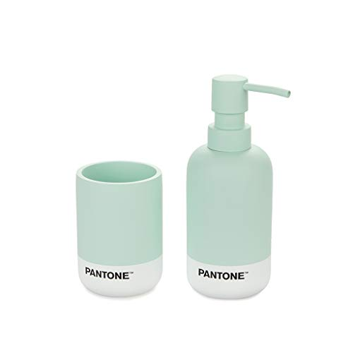 Balvi Set baño Pantone Color Verde Set de Accesorios para el baño de Calidad y diseño con Recipiente para jabón de Manos y para Colocar cepillos de Dientes Poliresina 17,5x6,9x6,9 cm