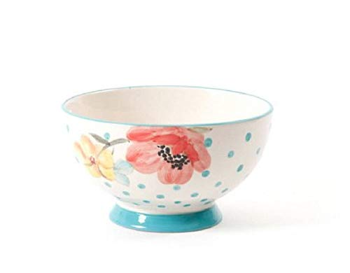 The Pioneer Woman Flea Market 6' Decorated Footed Bowls, Bloom Dots Turquoise, Set of 4 (1)