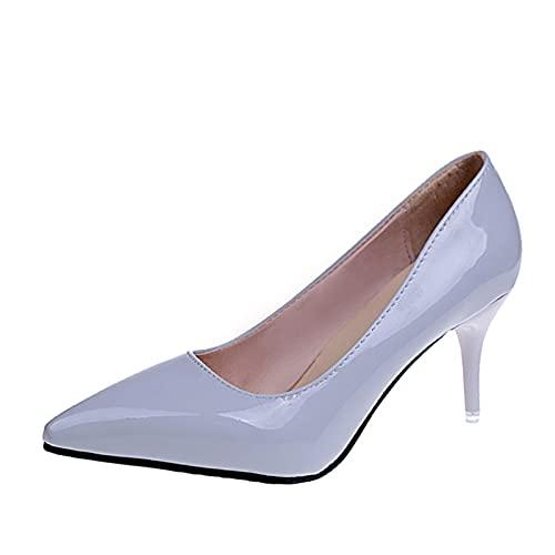 PJRYC 7 cm Stiletto Tacones Altos Mujeres Stiletto Vestido Zapatos de Mujer Boda Zapatos Casuales (Color : Gray, Shoe Size : 6)