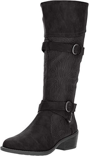 Easy Street Women's Kelsa Harness Boot, Black/Embossed, 5 M US