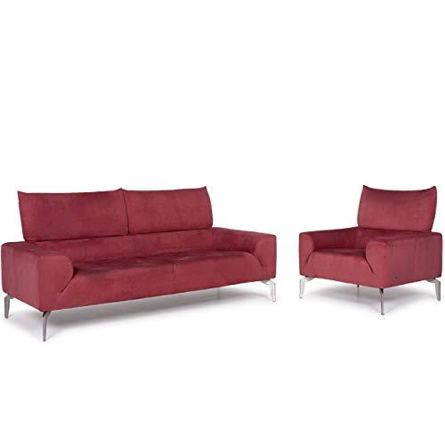 Laauser Stoff Sofa Garnitur Rosé Zweisitzer Sessel #11634