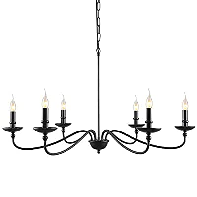 "SEOL LIGHT 36""Dia Classic Candelabra Style Large Branch Iron Chandeliers Ceiling Hanging Pendant Light Fixture 6 Light 240W Black Painted"