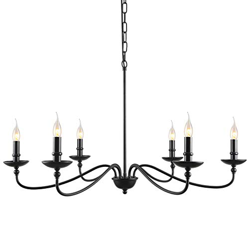 SEOL-Light 36'Dia Classic Candelabra Style Large Branch Iron Chandeliers Ceiling Hanging Pendant Light Fixture 6 Light 240W Black Painted Indoor