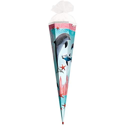 ROTH Schultüte groß Delfin mit Seesternen 85 cm - 6-eckig Rot(h)-Spitze Tüllverschluss - Zuckertüte