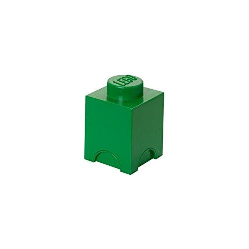 LEGO Storage Brick with 1 Knob, in Dark Green