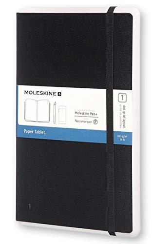 Moleskine Paper Tablet Notizbuch Digitales Smart Notizbuch Paper Tablet (mit gepunkteten Seiten und Hardcover, gepunktet, Large 13 x 21cm) schwarz