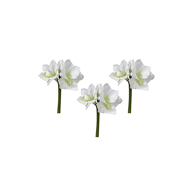silk flower arrangements floral kingdom real touch 30' xlarge artificial amaryllis flowers for vase arrangements, home/office decor (pack of 3)