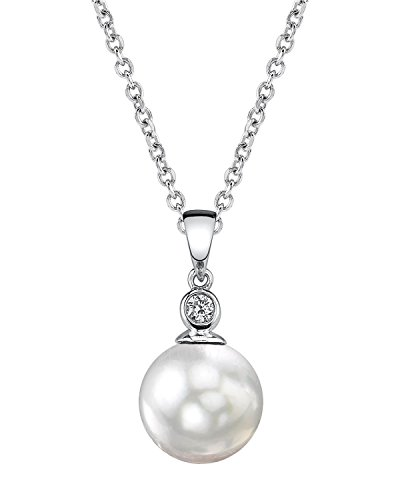 THE PEARL SOURCE 14K Gold 7.5-8mm AAA Quality Round White Akoya Cultured Pearl & Diamond Michelle Pendant Necklace for Women
