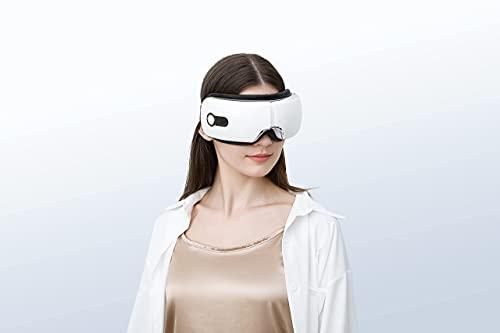 Masajeador de ojos con control remoto y calor, Compresión de aire Masajeador de terapia ocular recargable, Mejorar el sueño (AM003)