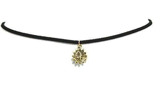 2LIVEfor Venezia Halskette Schwarz Gold Damen mit Anhänger Sonne Mond Sterne Choker Gothic Punk Stil Schwarze Kette Anhänger Stern Antik Barock Kropfband mit Anhänger (Gold Sonne)