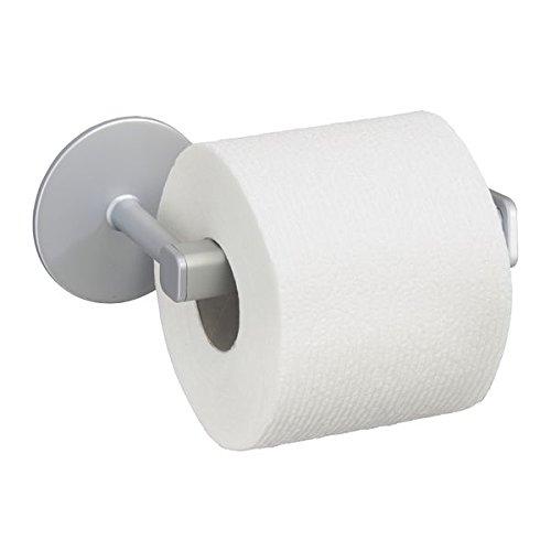 mDesign Toilettenpapierhalter - ohne Bohren zu montieren - Selbstklebender Klopapierhalter für Wandmontage - Toilettenrollenhalter aus silbernem Aluminium - ideal für kleine Räume