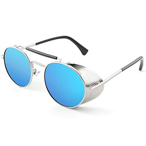 CGID E92 Steampunk estilo retro inspirado círculo metálico redondo gafas de sol polarizadas para hombre mujer Plateado Azul Espejado