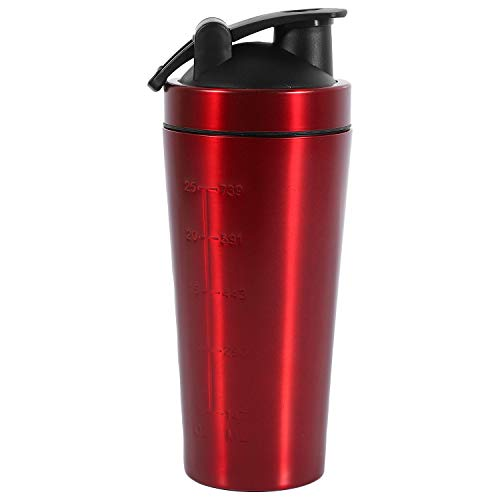 Yebobo Steel Protein Vibrating Bottle Gym Shaker Sports Milkshake Blender Water Bottle Whey Protein Fitness Without BPA Red