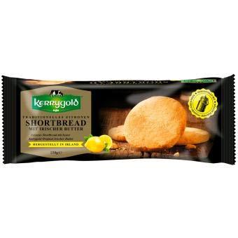 Kerrygold Zitronen Shortbread - Irish Butter Biscuits - Traditionelles Irisches Mürbeteiggebäck mit Zitronengeschmack, 150g