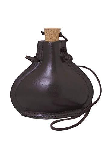 Mittelalterliche Feldflasche aus Stahl 0,5 Liter mit Leder bezogen Trinkflasche LARP Hängegrill Lager