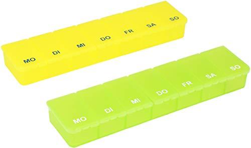 com-four® 2X Medikamentendosierer - Medikamenten-Box für 7 Tage - Pillendose - Tablettendose - Tablettenbox - Wochendosierer zur Aufbewahrung (02 Stück - gelb/grün)
