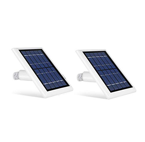 Wasserstein Solar Panel Compatible with Ring Spotlight Cam Battery, Ring Stick Up Cam Battery & Reolink Argus Pro - Power Your Ring Surveillance Camera continuously with 2W 5V Charging (2 Pack, White)