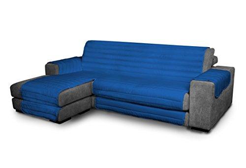 Italian Bed Linen Elegant - Funda Protectora para Sofá Chaise Longue Izquierdo, Microfibra, Azul royal, Medida del asiento 290 cm + cubre brazos laterales