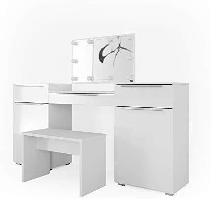 Vicco Schminktisch Lilli Frisiertisch Kommode Frisierkommode Spiegel Weiß inklusive Bank und LED-Lichterkette